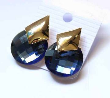 Glossy Blue Designer Ear ring with Metal