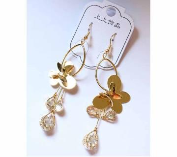 Gold Plated Diamond Cut Stone butterfly Earrings