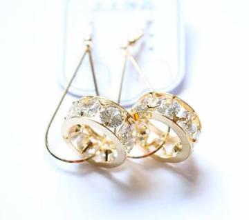 Gold Plated Diamond Cut Stone Designer Earrings