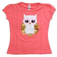 Light Pink Owl Girls T-Shirt