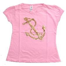 Light Rose Anchor Girls T-Shirt