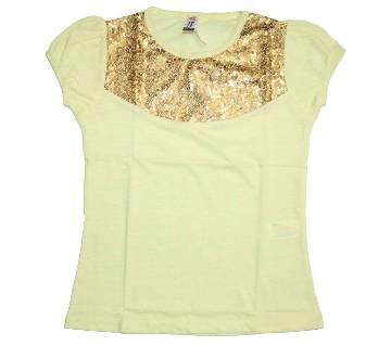 Yellow Cotton Girls Tshirt