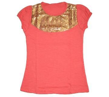 Deep Pink Cotton Girls T shirt
