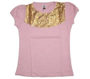 Light Pink Girls Cotton Tshirt