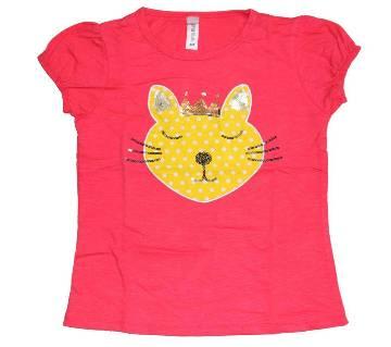Deep Pink Cotton Girls Tshirt