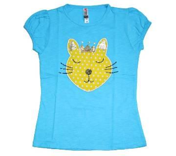 Firoza Color Cat Girls Cotton T Shirt