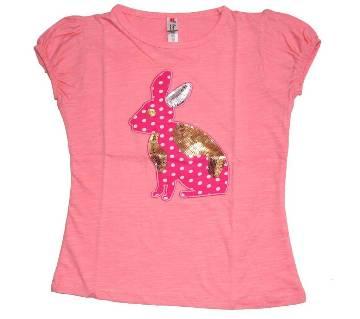 Light Pink Girls Cotton T Shirt