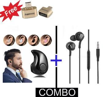 Smart Mini Wireless Bluetooth Earphone + Akg HD ইয়ারফোন + ফ্রি Remax OTG Converter