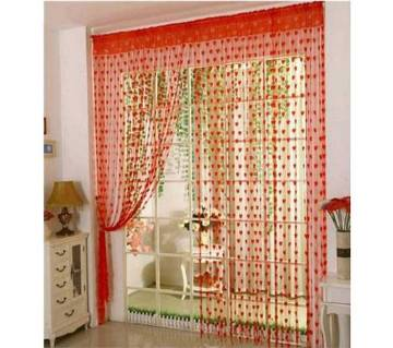 heart shaped red net curtains 2 pcs