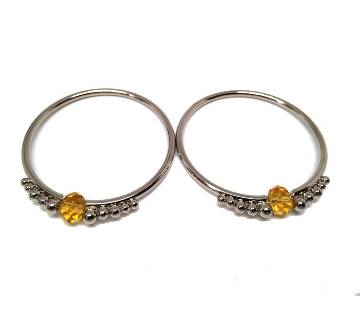 Silver Bangles with Crystal Setting