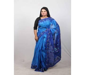 হ্যান্ড এমব্রয়ডারি শাড়ী - ডার্কব্লু ও রয়েল ব্লু