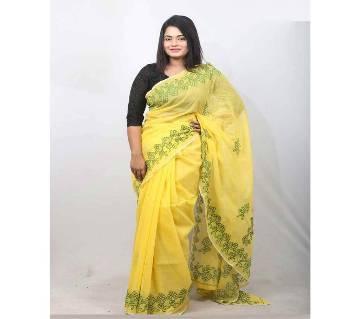 হ্যান্ড এমব্রয়ডারি শাড়ী - মসলিন সিল্ক