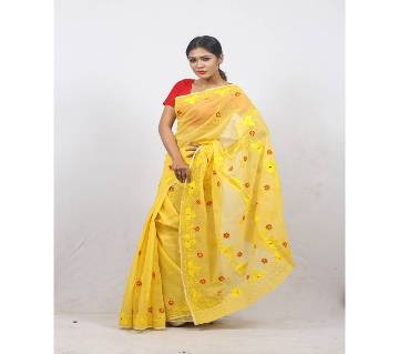 Hand Embroidery Saree -Yellow