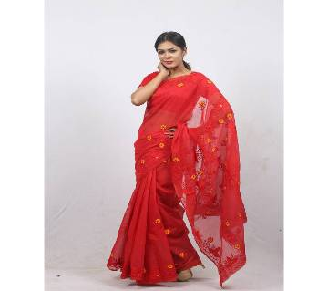 Hand Embroidery Saree -Red