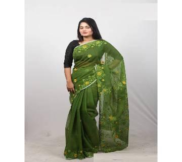 Hand Embroidery Saree -Dark Olive Green