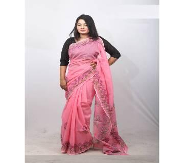 Hand Embroidery Saree -Muslin Silk- Pink