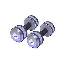 Two Pieces Rubber Dumbbell Set - 10kg - Silver