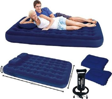 Inflatable Double Bed With 2 Pillow manual Pumper