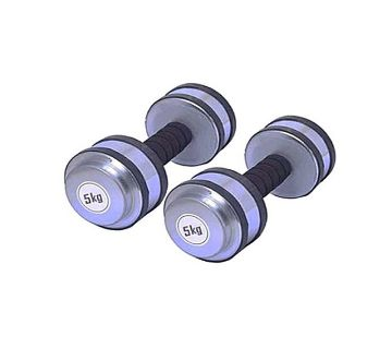 Rubber Dumbbell (5 x 2) = 10 Kgs Solid Iron