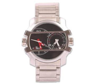 Forest Stainless Steel Watch for Men-Black & Sliver