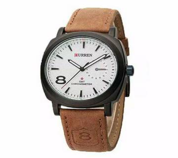 W130 - Leather Analog Watch For Men - Brown