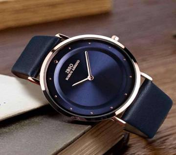 Leather Analog Watch For Men - Navy Blue