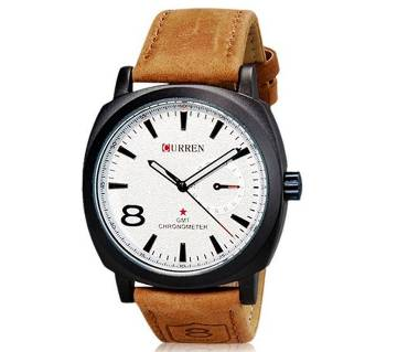PU Leather Wrist Watch For Men - Brown And White