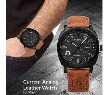 PU Leather Analog Watch for Men - Black