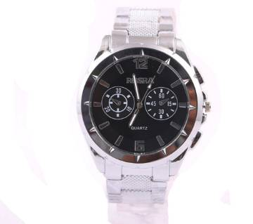 ROSRA Silver and Black Stainless Steel Analog Watch for Men