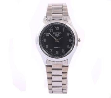 SEIKO Silver Dial Stainless Steel Watch For Boys & Girls-Black