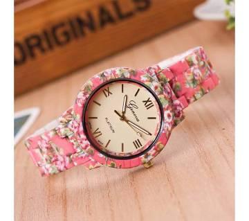 Floral Print Ladies Wrist Watch