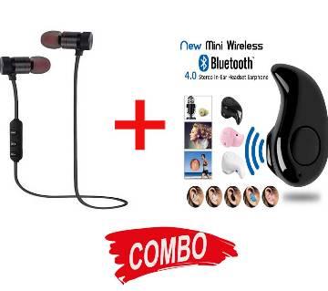Smart Wireless Mini Bluetooth Earphone - Black + Stereo Bluetooth Earphone - Black Combo Offer