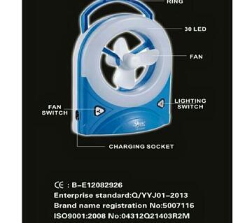 Rechargeable mini Fan With Light - 1 pcs