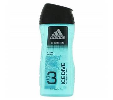 Adidas Ice Dive 3 in 1 Body, Hair and Face Shower Gel For Men 250ml - UK