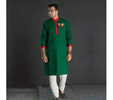 semi long panjabi for men-REd and Green