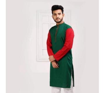 Green and red semi long Panjabi