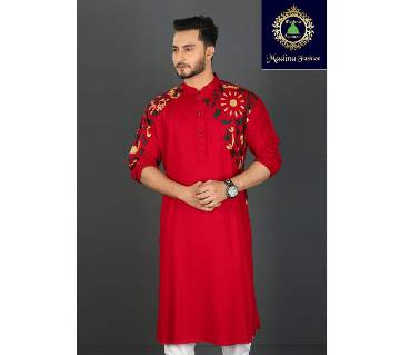 Mens Semi-Long Cotton Punjabi