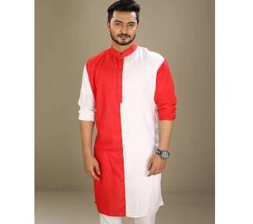 Boishakhi Cotton Punjabi for Men-Red and White