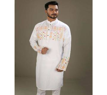 Mens Boishakhi Cotton Punjabi-White
