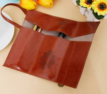 Leather Makeup Cosmetic Pen Pencil Case Pouch Purse Bag