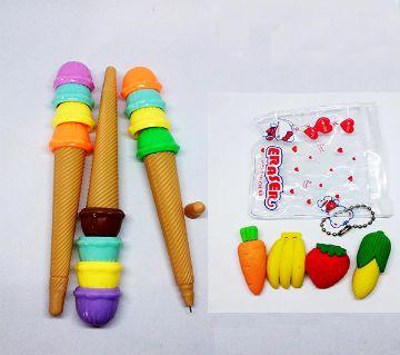 Cone Ice Cream Gel Pen And Fruits Eraser