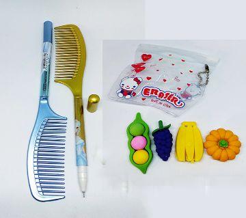 Comb Pen And Fruit Eraser Set