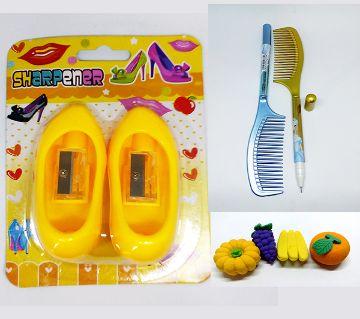 Hill Sharpener , Comb Pen And fruit Eraser