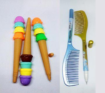 Cone Ice Cream And Comb Pen