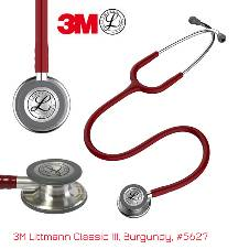 3M Littmann Classic III স্টেথোস্কোপ, Adult & Pedia, Burgundy, Double Chestpiece 27 inch, 5627