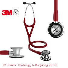 3M Littmann Cardiology IV স্টেথোস্কোপ, Burgundy Tube, Mirror-Finish Chestpiece and Stem, Stainless Headset, 27 inch, 6170