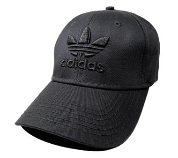 Black Adidas Logo Cotton Cap For Men
