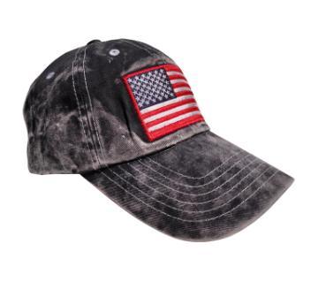 US Flag প্রিন্টেড ওয়াশড কটন ক্যাপ ফর মেন