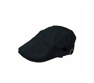 Black Cotton Golf Cap For Men
