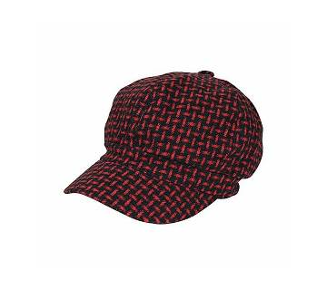 Black And Red Cotton Cap For Men